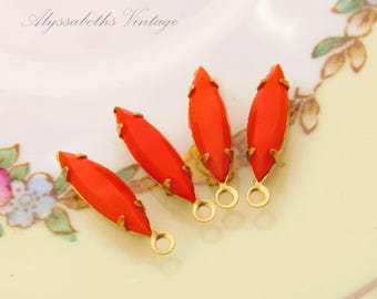 Vintage Opaque Coral 15x4mm Navette Set Glass Stone Drops Rhinestone Earring Dangles Brass or Antique Silver Settings– 6
