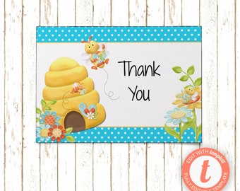 Bumble Bee Aqua Cards | Thank You Cards | Editable Printable PDF or JPEG | Instant Download | Templett | BSI291TY