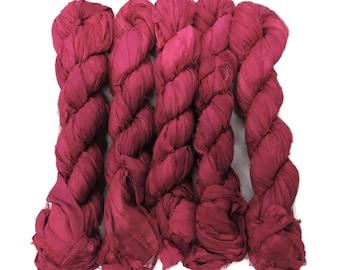New! 50g Sari Silk Ribbon, 25-28 yards , color Raspberry