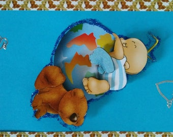 """""""The little boy and his globe"""" 3D card"""