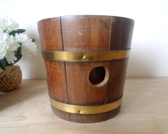 Vintage Wooden Planter Pot Bucket with Brass Bands