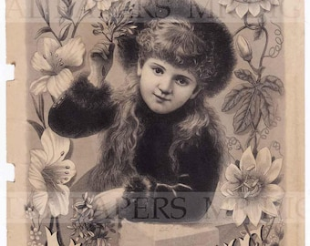 Antique Advertising / Advertising Page / Digital Instant Download / Paper Ephemera / Girl Flowers / Victorian Magazine / Womens Magazine