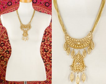 Iconic Runway Statement Necklace in Textured Gold Tone Vintage 60's 70's Gold Chain Ornate Necklace