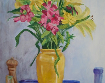 Summer Bouquet Original Still Life Painting on Canvas Yellow Pink Blue