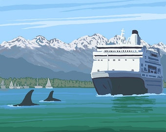 Alaska - Cruise Ship and Whales (Art Prints available in multiple sizes)