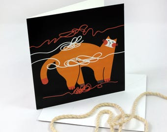 Greeting card, cat, folded card with envelope