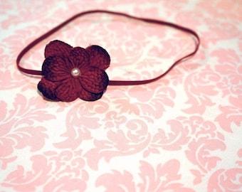 Small red flower headband/ Newborn headband/ Baby headband