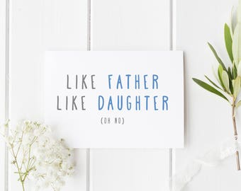 Card for dad etsy funny fathers day card like father like daughter funny birthday card dad funny card dad card for dad handmade birthday card for dad m4hsunfo