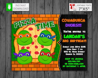 Tmnt invitation Etsy