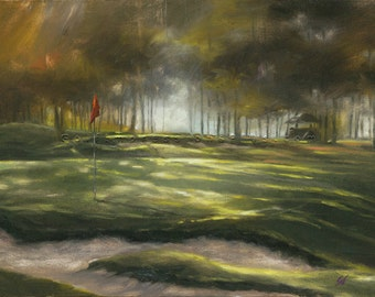 Golf Art. Golf Gift. Hickory Hills Golf Club, Ohio, Hole #13. Print of original oil painting.