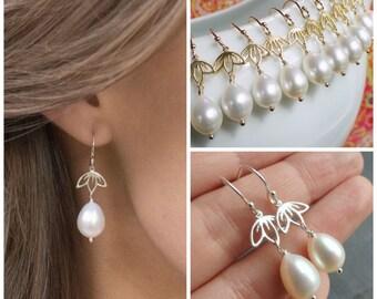 Lotus pearl earrings, bridesmaid gifts, Freshwater Pearl Earrings, Gold or silver earrings, bridal earrings, Pearl drop earrings