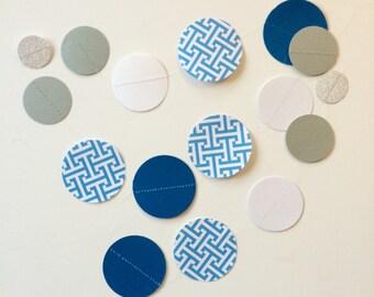 Blue Cross Tee Paper Garland 10 ft., blue garland, silver and blue, baby shower garland, boy baby shower, blue wedding, blue nursery, boy