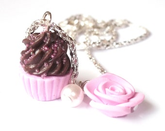 Cupcake Jewelry ( kawaii cupcake necklace cute polymer clay cupcake charm kids jewelry miniature food miniature rose cupcake food necklace )