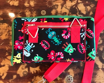 Little Monsters XBody Bag - Black, Red, Green, Blue - Cross Body Purse - Traveling Clutch - Adjustable, Removable Red Strap
