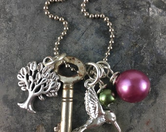 Skeleton Key Necklace with Tree and Hummingbird Charms