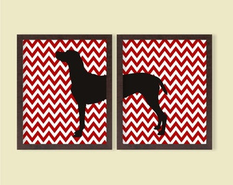 Great Dane Poster (Set of 2) Red Chevron- 8x10 - Instant Download Digital Printable Dog Silhouette Pet Lover Wall Art Home Living Room Decor