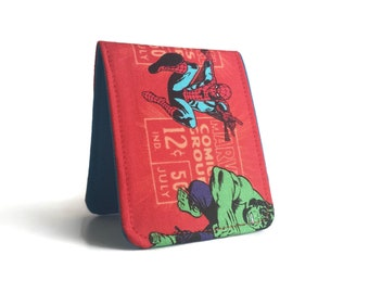 Super Thin Billfold Wallet / Marvel Avengers Spider Man Cotton Wallet / Vegan Wallet