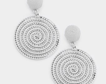 Swirl Thread Wrapped Disc Dangle Earrings - Silver