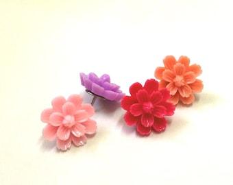 Resin Flower Push Pins - Azalea Colors- Set of 4