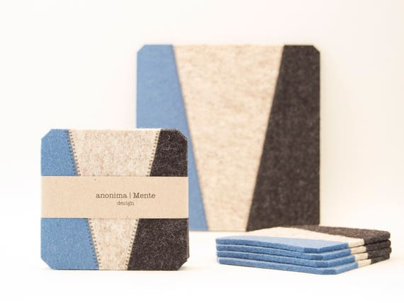 Set of felt coasters / square coasters / blue and grey / blue coasters / modern home design / wool felt / gift idea / made in Italy