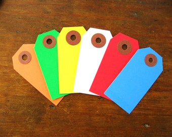 Bright Color Gift Tags, Parcel Tags Assortment (Set of 30 Pick Your Own Colors)