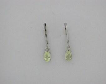 Natural Gold Quartz Dangle Earrings Solid 14kt White Gold