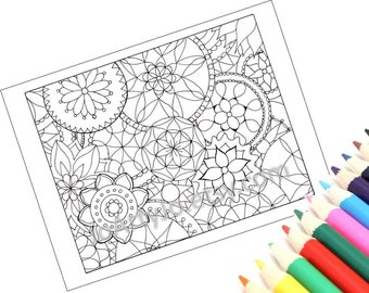Printable Coloring Page Mandala, PDF Instant Download- Page 2
