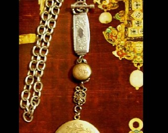Sterling watch chain choker double locket large drop keepsake Fairly necklace