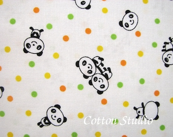 Kawaii Panda Japanese Fabric Off White by the Half Yard