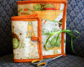 Frogs and Ladybugs Sewing Caddy, Needle Book, Hand Sewing Organizers