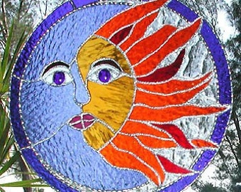 Stained Glass Sun Catcher, Sun and Moon, Stained Glass Suncatcher, Sun Design Suncatchers, Sun Art, Window Art, Stained Glass Gift, 9751
