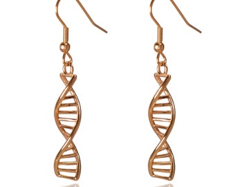 DNA Double Helix Science Stainless Steel Dangle Earrings