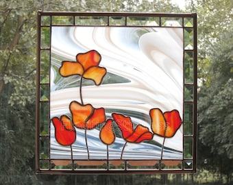 Poppies Stained Glass Panel Suncatcher Poppy Red Tulips Flowers Handmade MADE to ORDER CUSTOM