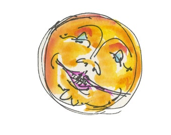 """that NEW ORLEANS MOON...Clipart / Digital Download / 300 dpi/ hi resolution of Original Watercolor . 8""""x10"""" Great for any application."""
