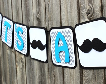Mustache Banner, Mustache Baby Shower Banner Decorations, Chevron Baby  Shower Banner, Mustache Itu0027s
