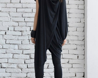 Oversize Grey Tunic/Asymmetric Long Top/Extravagant Grey Dress/Loose Tunic Top/Draped Grey Short Dress/Long Short Grey Maxi Top