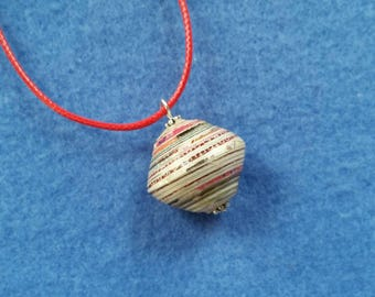 Recycled Paper Bead Pendant Necklace, handmade pendant on 17 inch red cord necklace with 2 inch extender chain