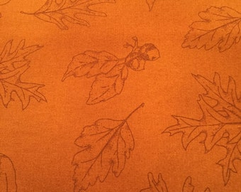 Fields of Gold Fabric (Gold Tonal Leaves) by Maywood Studios (Pattern 16017S)