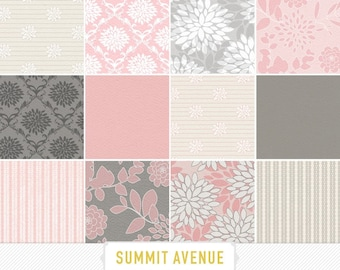 Photography / Personall use - digital scrapbook paper pack - 13 Pink & Grey garden damask designs