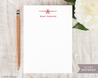 Personalized Notepad - PROP PLANE - Stationery / Stationary Notepad - Mens or Womens Professional Airplane Pilot Note Pad