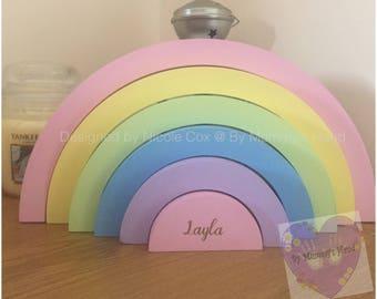 Freestanding Stackable Rainbow Plaque, Handpainted Wooden Rainbow, Nursery Decor, Rainbow Bedroom Decor, Pastel Rainbows, Gift Idea