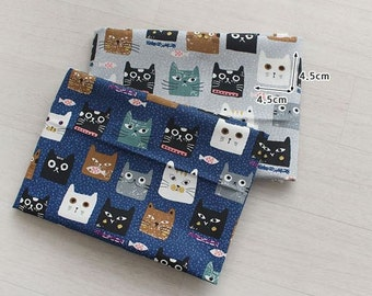 Cute Cats Pattern 20s Cotton Oxford Fabric - 2 Colors Selection