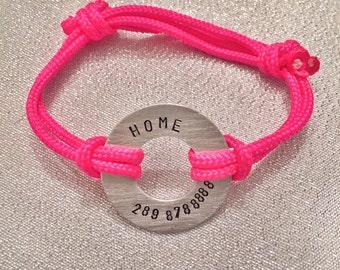 Child ID Bracelet - If Lost, Phone Number Bracelet. Paracord bracelet. Washer bracelet
