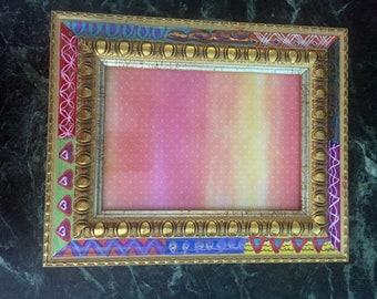 "Hand Painted Bohemian Gold Wood Decorative Picture Frame  8""W10""Hx1""D, Pic. 5""Wx7""H F0086"