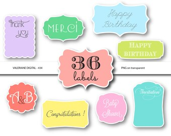 36 digital labels, digital frames, digital clip art, pastel labels, frame clip art, frame clipart- 434