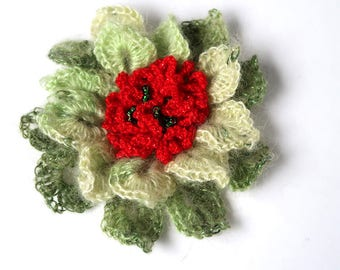 FREE US SHIPPING - Light Dark Apple Green Red Color Crochet Statement Flower Brooch Shawl Scarf Hat Hair Pin