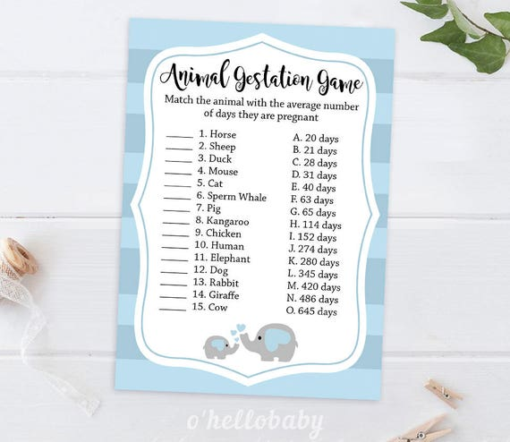 Animal Gestation Baby Shower Game Baby Shower Games Baby