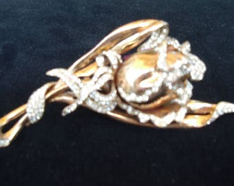 Reduced  Collectable 1940's COROCRAFT Gold Rose/ Rhinestone Pave' Gold/Plated/ Sterling Brooch  Item #780  Jewelry