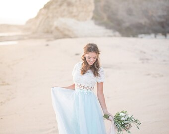 Alternative bridal seafoam long tulle skirt for brides designed for beach weddings, garden weddings, and engagement shoots, and galas.