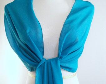 Evening Wrap - Teal Blue - Shawl Scarf - Stole - Teal Blue One Shoulder Drape - Teal Blue Chiffon - Pashmina - Dressy Wrap - Extra Long